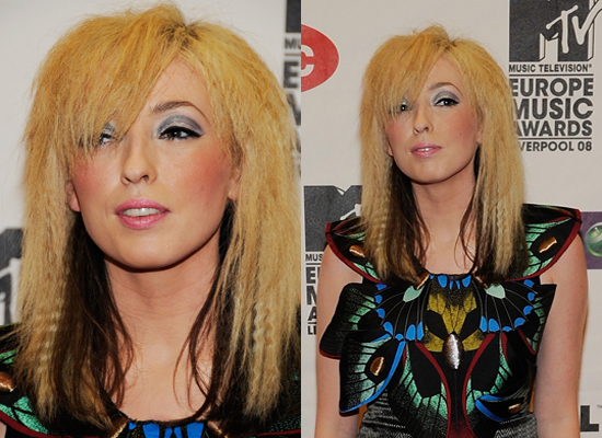 two toned hairstyles. Her two tone hair looks extra fluffy with this season's crimping trend and