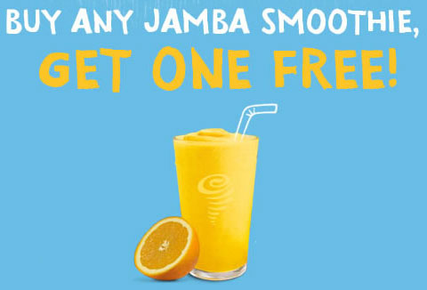 Purchase any Jamba smoothie and get an additional smoothie free.