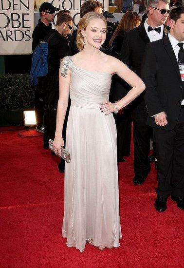 in Stella McCartney silk asymmetric gown