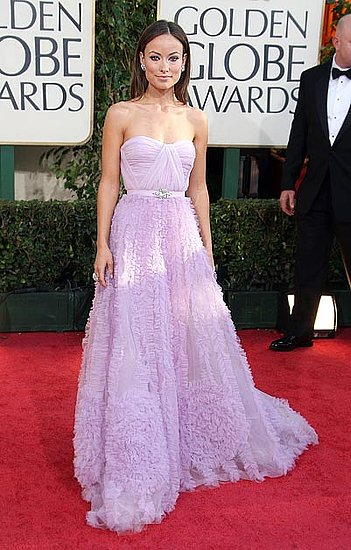 In a lavender ruched Reem Acra ball gown