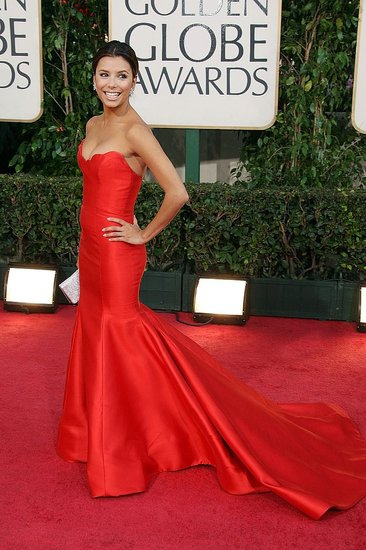 In a red Reem Acra gown