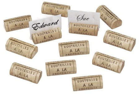 Business Cards held up by corks.