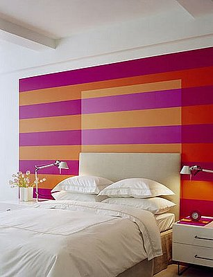 Cool Idea: Painted Stripes Headboard