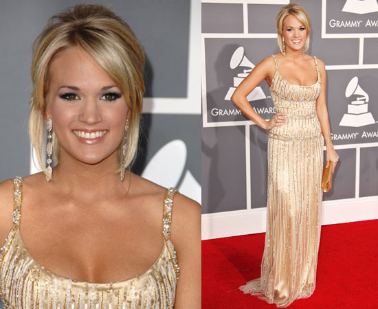 Country belle Carrie Underwood shined at the Grammys in an embellished gold