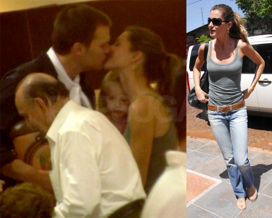Gisele Bundchen wedding celebrations in Brazil blue shirt, black trousers