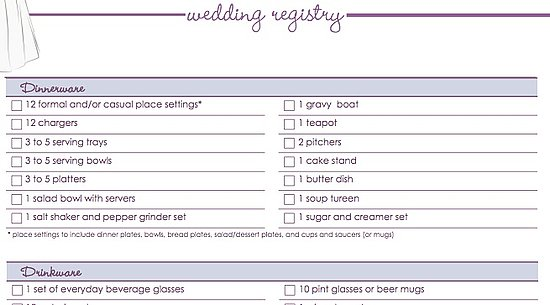Wedding Gift Registry Checklist : Download Our Free Wedding Registry Checklist POPSUGAR Food