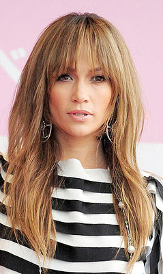 Jennifer Lopez with front bangs. How do you feel about front bangs