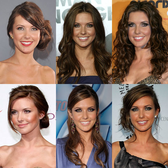 Audrina wore her long, dark, highlighted locks in a loose side-swept updo.
