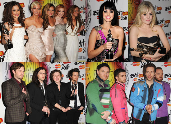 photos of 2009 brit awards winners including duffy girls aloud