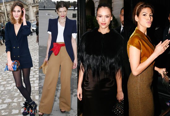 Over at Miu Miu, Jessica Alba covered her shoulders in feathers while Eva