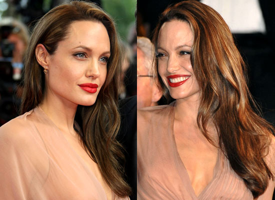 she opted for daring red lipstick, a defined eye and a neutral face.