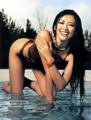 Zhang Ziyi in Black Bikini