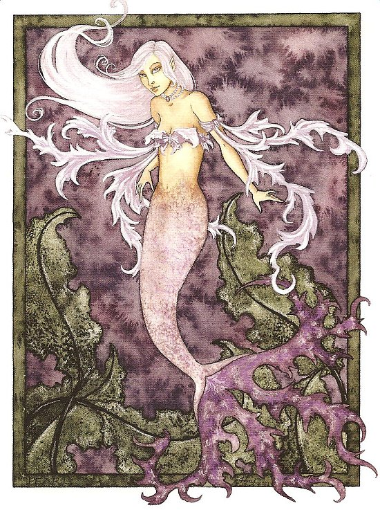 Purple Mermaid Blank Card