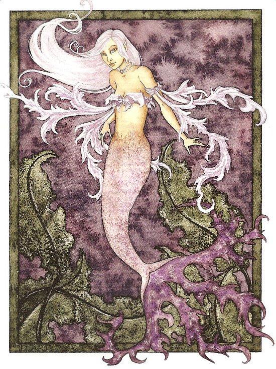 Purple Mermaid Blank Card