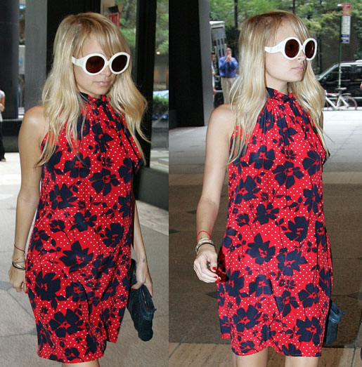 CS: Nicole Richie · Vanitas Tie Neck Dress in Red Silk Print, $255