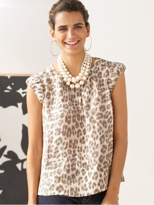 leopard print blouse. Leopard print top, $68.