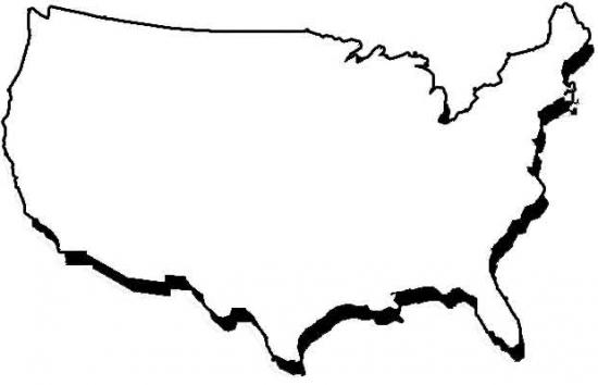 United States And Mexico Outline Map