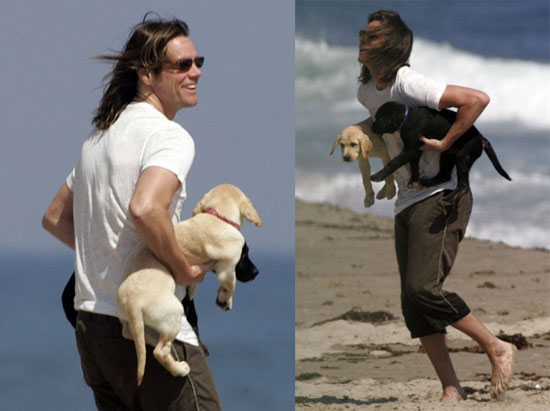 Photo of Jim Carrey & his  Dog