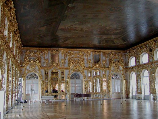 The ballroom of the Catherine Palace in Tsarskoye Selo