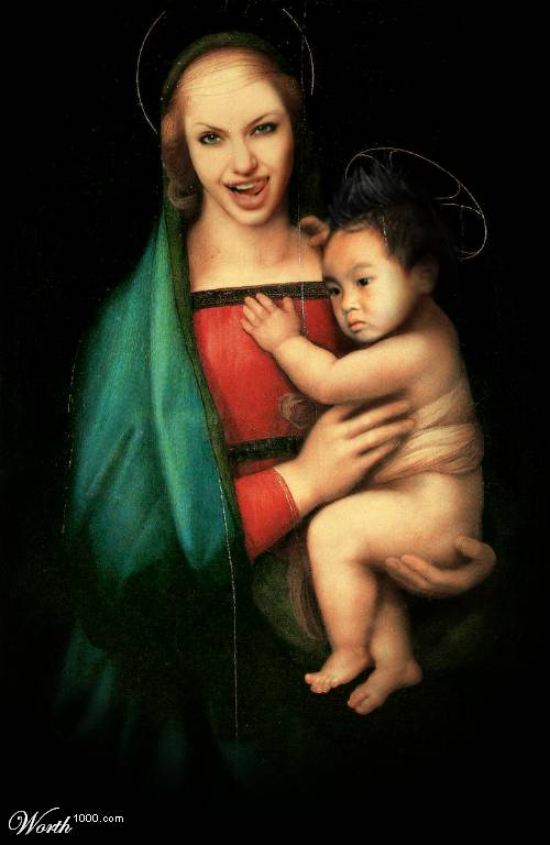 Angelina Jolie and Maddox as Madonna and Child