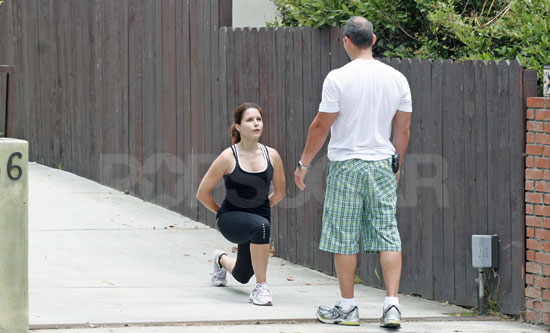 The back of their heads (i.e. Harley Pasternak training Sophia Bush pictured