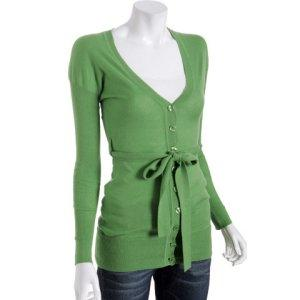 Bluefly - Cris lime cotton-cashmere belted cardigan | TEAMSUGAR