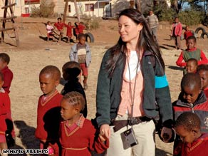 """[Children] are not asking for Nintendo or Xbox or any of that; they just want books and paper,"" says Lucy Liu."