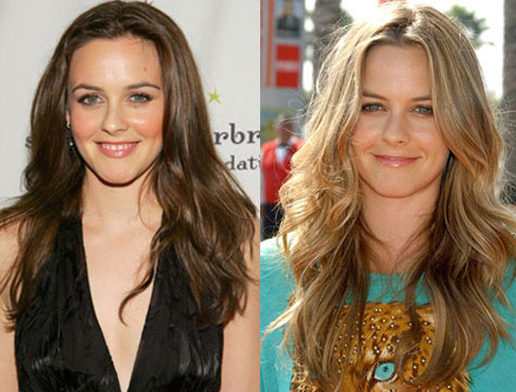 On the left, she has medium brown hair from an event in March 2006,
