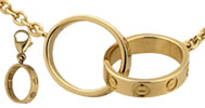 yellow gold, the ring with a lace, for people prefer put it in the neck than the finger