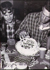 Matt and his best friend Ben with a beautiful birth cake!