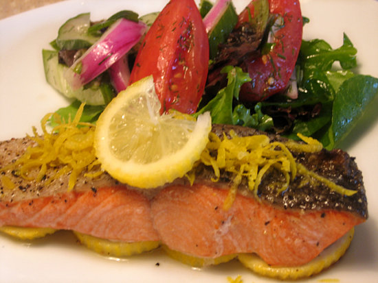 Roasted Salmon with Cucumber Tomato Dill Salad