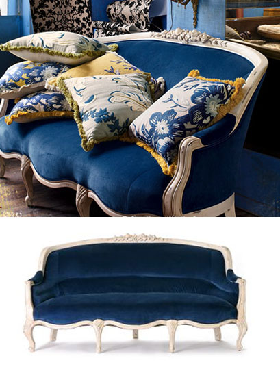 Anthropologie.com > Amelie Sofa, Indigo Velvet :  anthropologie blue for the home velvet