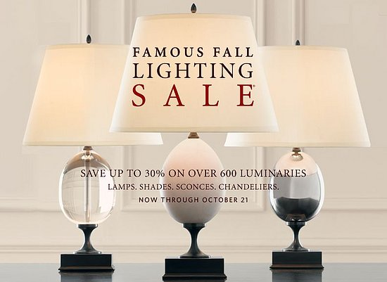 Sale alert restoration hardware fall lighting sale for When is restoration hardware lighting sale