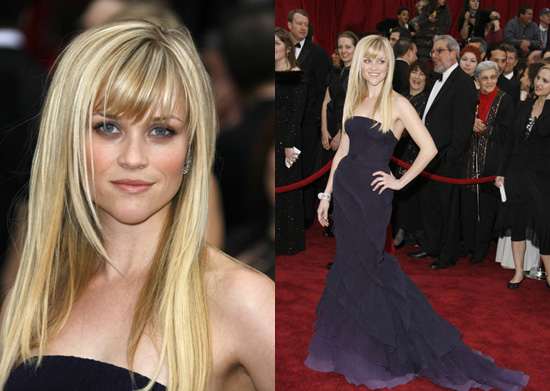 layered cut with straight-cross bangs like Reese Witherspoon