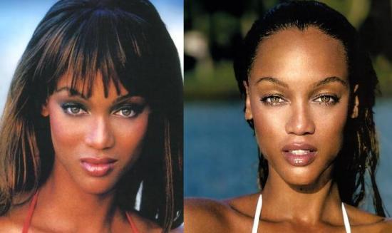 tyra banks no makeup. Tyra Banks - Bangs vs. No