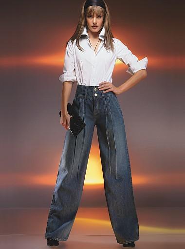 Большинству дам куда больше подходят брюки с высокой талией.
