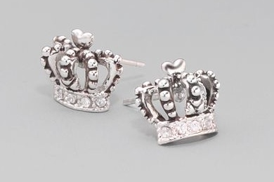 Sterling Silver 925 Crown Round Cubic Zirconia Cz Solitaire Earrings