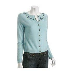 Baby Blue: Cynthia Steffe baby blue cashmere jeweled cardigan: Apparel | TEAMSUGAR