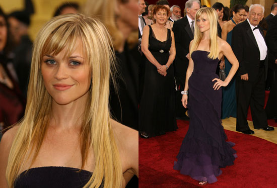 reese witherspoon purple dress. reese witherspoon oscar dress.