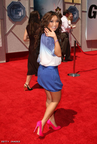 I think Brenda Song looks fantastic in these high heels.