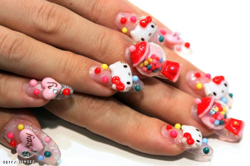 hello kitty nails. Japanese Hello Kitty Nails.