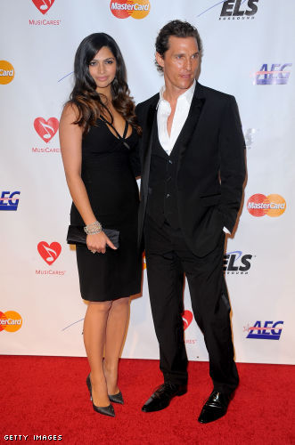 Matthew McConaughey and Camila Alves at the 2010 MusiCares Person of the ...