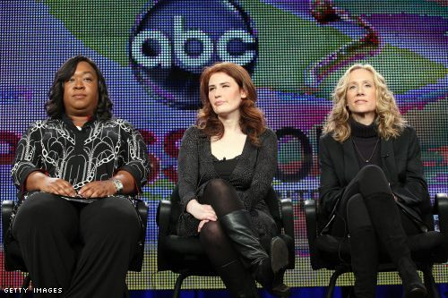 Executive producer Shonda Rhimes, creator/executive producer Jenna Bans, and executive producer Betsy Beers