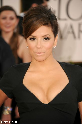 Eva Longoria cleavage at Golden Globes
