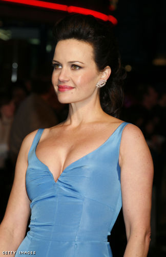 Carla Gugino Has Sexy Cleavage in a Low Cut Blue Dress