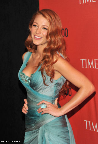 Blake Lively Marchesa Blue Dress. actress Blake Lively.