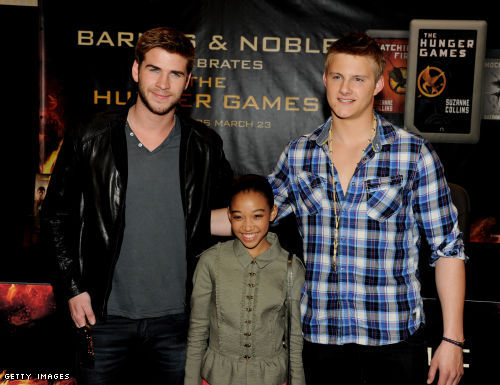 Liam Hemsworth, Amandla Stenberg and Alexander Ludwig of Lionsgate's The Hunger Games pose at Barnes & Noble
