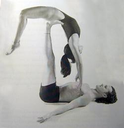 partner yoga pose flying bow  popsugar fitness