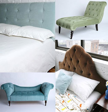 UPHOLSTERED BUTTONS: headboard, chaise lounge, sofa